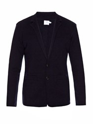 Sunspel Milano Wool Knit Cardigan Navy