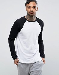 Asos Long Sleeve T Shirt With Contrast Raglan Sleeves White Black