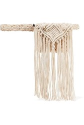 Nannacay Maia Fringed Crocheted Belt Bag Cream