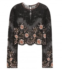 Alessandra Rich Embellished Lace Cropped Top Black