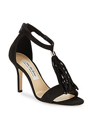 Saks Fifth Avenue Ginger Leather Open Toe Stilettos Black