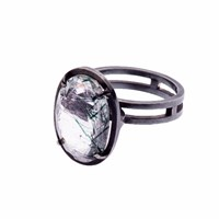 Nancy Rose Jewellery Green Rutilated Quartz Ellipse Ring Black Green Grey