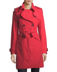 Nobis Double Breasted Belted Parka Jacket Red