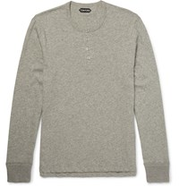 Tom Ford Melange Cotton Jersey Henley T Shirt Gray