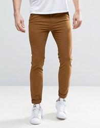 New Look Skinny Fit Chinos In Tan Camel