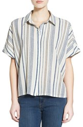 Junior Women's Bp. Stripe Oversize Shirt