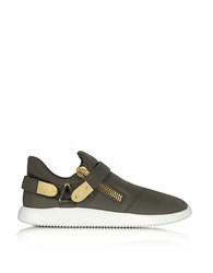 Giuseppe Zanotti Military Green Gommato Leather Low Top Men's Sneakers