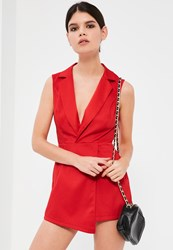 Missguided Petite Red Sleeveless Tuxedo Playsuit