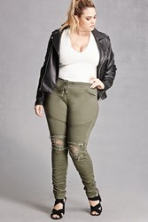 Forever 21 Plus Size Moto Skinny Jeans Olive