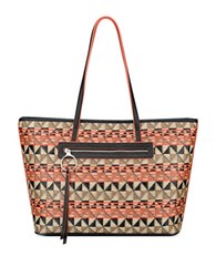 Nine West Geometric Tote Mandarian Red Black