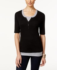 Karen Scott Henley Top And Striped Tank Set Only At Macy's Deep Black