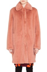 Akris Punto Faux Fur Coat Blush Rose
