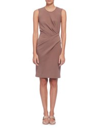 Lanvin Sleeveless Draped Sheath Dress Rosewood Wood Rose
