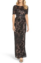 Adrianna Papell Women's Sequin Lace Gown Black Nude
