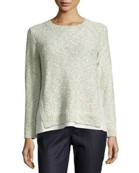 Lafayette 148 New York Sweater With Linen Insets Blue Pattern