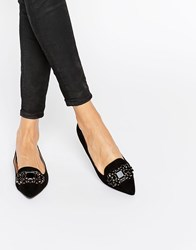 Head Over Heels By Dune Lou Lou Embellished Pointed Flat Shoes Black