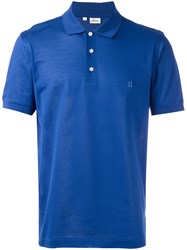 Brioni Embroidered Logo Polo Shirt Blue