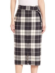 Max Mara Plaid Virgin Wool Blend Skirt White