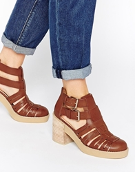 Asos Extra Time Gladiator Crepe Mix Ankle Boot Tan