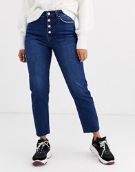 Only Straight Leg Jean With Exposed Buttons In Dark Blue