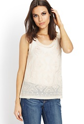 Forever 21 Adventurer Sheer Beaded Top Cream Peach
