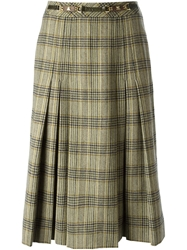 Celine Vintage Prince Of Wales Patterned Skirt Nude And Neutrals