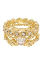 Covet 14K Gold Plated Delicate Stack Ring Set Metallic