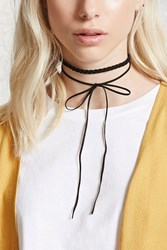 Forever 21 Faux Suede Bow Choker Set Black