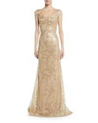 David Meister Embroidered Gown W Metallic Floral Applique Gold