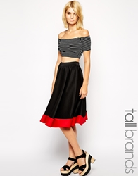 Girls On Film Tall Colour Block Full Midi Skirt Blackred