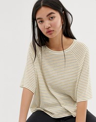 Weekday Base Boxy T Shirt In Beige And White Stripes Multi