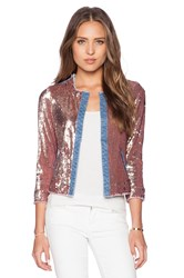 Sam Edelman Sequin And Denim Jacket Metallic Bronze