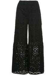 Cityshop Lace Cropped Palazzo Trousers Black