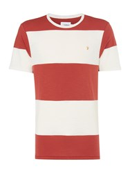 Farah Men's Woolacombe Striped Tshirt Washed Red