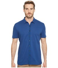 Perry Ellis Short Sleeve Stretch Solid Jacquard Shirt Bright Sapphire Clothing Blue