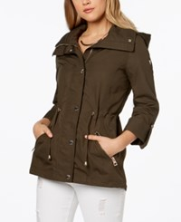 Guess Adjustable Waist Hooded Anorak Sage
