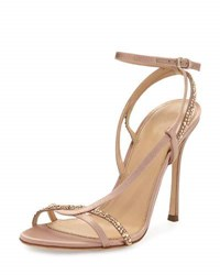 Sergio Rossi Lexington 105Mm Strappy Crystal Embellished Satin Sandal Neutral Neutral Pattern