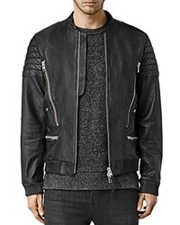 Allsaints Sanderson Leather Slim Fit Moto Bomber Jacket Black
