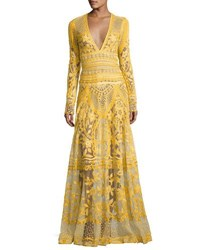 Naeem Khan Thread Embroidered Long Sleeve Gown Yellow