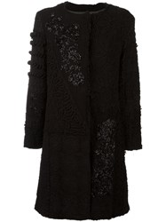 By Walid Crochet Beaded Coat Black