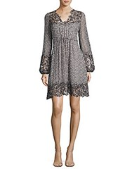 Elie Tahari Tally Printed Silk Dress Charcoal