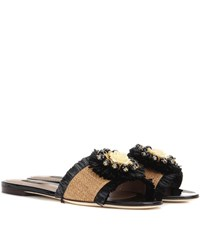 Dolce And Gabbana Embellished Leather Sandals Black
