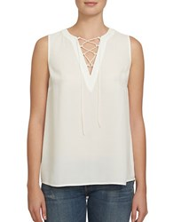 1.State Sleeveless Lace Up Front Blouse New Ivory