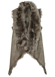 Karl Donoghue Dark Green Reversible Nubuck And Shearling Gilet Khaki