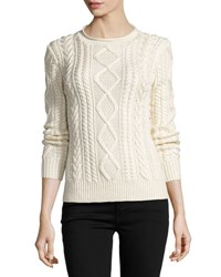 Ralph Lauren Aran Knit Silk Cashmere Sweater Cream