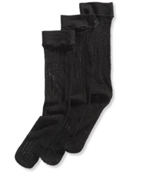 Calvin Klein Women's Crochet Trouser Socks 3 Pack Black