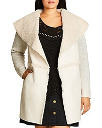 City Chic Faux Shearling Sweater Coat Stone