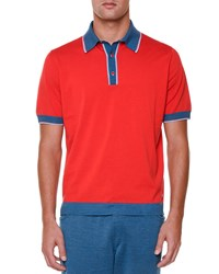 Stefano Ricci Short Sleeve Polo Shirt With Contrast Trim Red Men's