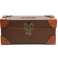 Rrl Leather Trimmed Wood Watch Case Brown
