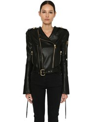 Balmain Cropped Leather Biker Jacket Black